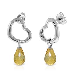 ALARRI 14K Solid White Gold Heart Earrings w/ Dangling Natural Citrines
