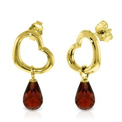 ALARRI 14K Solid Gold Heart Earrings w/ Dangling Natural Garnets