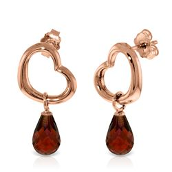 ALARRI 14K Solid Rose Gold Heart Earrings w/ Dangling Natural Garnets