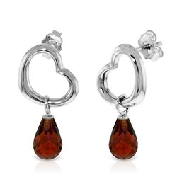 ALARRI 14K Solid White Gold Heart Earrings w/ Dangling Natural Garnets