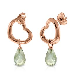 ALARRI 14K Solid Rose Gold Heart Earrings w/ Dangling Natural Green Amethysts