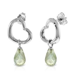 ALARRI 14K Solid White Gold Heart Earrings w/ Dangling Natural Green Amethysts