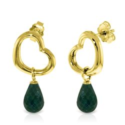 ALARRI 14K Solid Gold Heart Earrings w/ Dangling Natural Emeralds