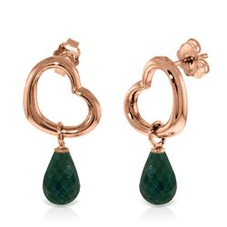 ALARRI 14K Solid Rose Gold Heart Earrings w/ Dangling Natural Emeralds