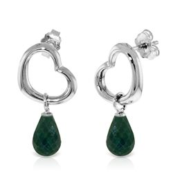 ALARRI 14K Solid White Gold Heart Earrings w/ Dangling Natural Emeralds