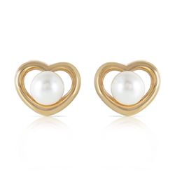 ALARRI 14K Solid Gold Heartstud Earrings w/ Natural Pearls