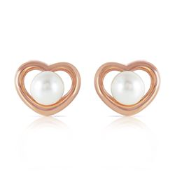 ALARRI 14K Solid Rose Gold Heartstud Earrings w/ Natural Pearls