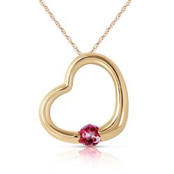ALARRI 14K Solid Gold Heart Necklace w/ Natural Pink Topaz