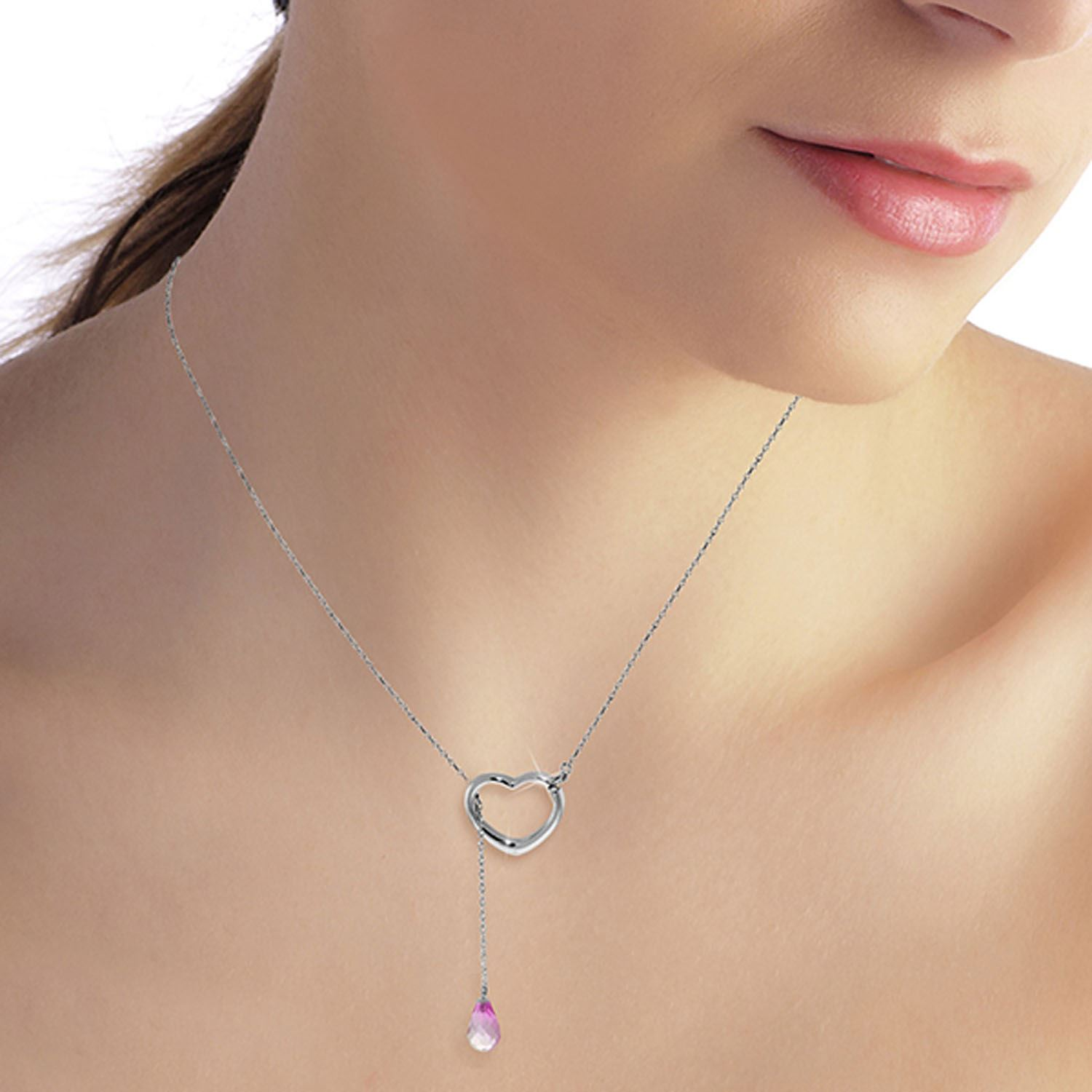 ALARRI 14K Solid White Gold Heart Necklace w// Natural Pink Topaz with 20 Inch Chain Length