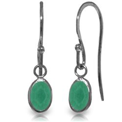 ALARRI 14K Solid White Gold Fish Hook Earrings w/ Natural Emeralds