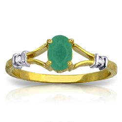 ALARRI 14K Solid Gold Ring w/ Natural Diamonds & Emerald