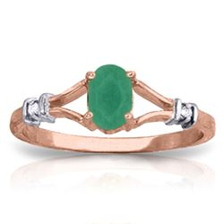 ALARRI 14K Solid Rose Gold Ring w/ Natural Diamonds & Emerald