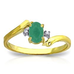 ALARRI 14K Solid Gold Rings w/ Natural Diamonds & Emerald