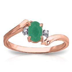 ALARRI 14K Solid Rose Gold Rings w/ Natural Diamonds & Emerald