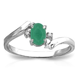 ALARRI 14K Solid White Gold Rings w/ Natural Diamonds & Emerald