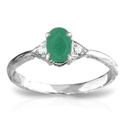 ALARRI 14K Solid White Gold Ring w/ Natural Diamonds & Emerald