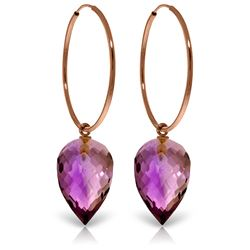 ALARRI 14K Solid Rose Gold Hoop Earrings w/ Pointy Briolette Drop Amethysts