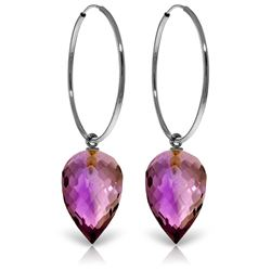 ALARRI 14K Solid White Gold Hoop Earrings w/ Pointy Briolette Drop Amethysts