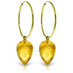 ALARRI 14K Solid Gold Hoop Earrings w/ Pointy Briolette Drop Citrines