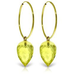 ALARRI 14K Solid Gold Hoop Earrings w/ Pointy Briolette Drop Lemon Quartz