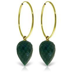 ALARRI 14K Solid Gold Hoop Earrings w/ Pointy Briolette Emerald Color Corundum