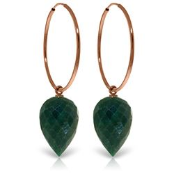 ALARRI 14K Solid Rose Gold Hoop Earrings w/ Pointy Briolette Emerald Color Corundum