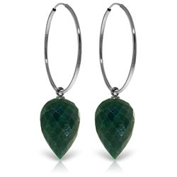ALARRI 14K Solid White Gold Hoop Earrings w/ Pointy Briolette Emerald Color Corundum
