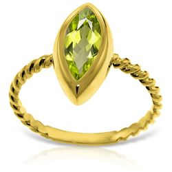 ALARRI 14K Solid Gold Rings w/ Natural Marquis Peridot