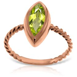 ALARRI 14K Solid Rose Gold Rings w/ Natural Marquis Peridot