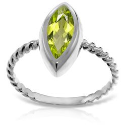 ALARRI 14K Solid White Gold Rings w/ Natural Marquis Peridot