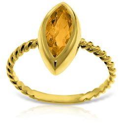ALARRI 14K Solid Gold Rings w/ Natural Marquis Citrine