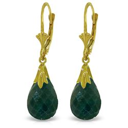 ALARRI 14K Solid Gold Leverback Earrings w/ Green Dyed Sapphires