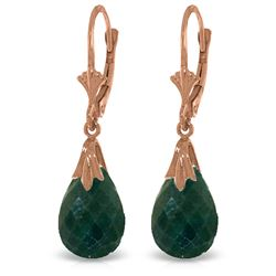 ALARRI 14K Solid Rose Gold Leverback Earrings w/ Green Dyed Sapphires
