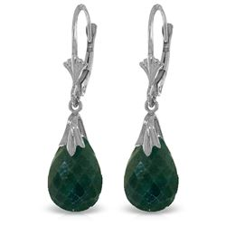 ALARRI 14K Solid White Gold Leverback Earrings w/ Green Dyed Sapphires