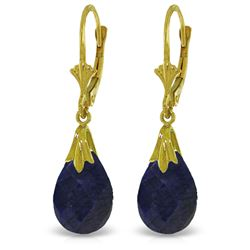 ALARRI 14K Solid Gold Leverback Earrings w/ Dyed Sapphires