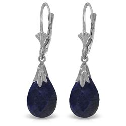 ALARRI 14K Solid White Gold Leverback Earrings w/ Dyed Sapphires