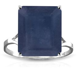 ALARRI 14K Solid White Gold Ring w/ Natural Octagon Sapphire