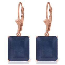 ALARRI 14K Solid Rose Gold Leverback Earrings w/ Sapphires