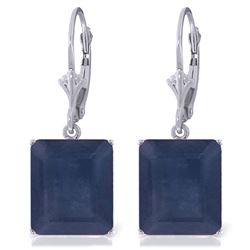 ALARRI 14K Solid White Gold Leverback Earrings w/ Sapphires
