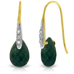ALARRI 14K Solid Gold Fish Hook Earrings w/ Diamonds & Dangling Dyed Green Sapphires