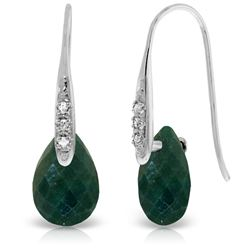 ALARRI 14K Solid White Gold Fish Hook Earrings w/ Diamonds & Dangling Dyed Green Sapphires