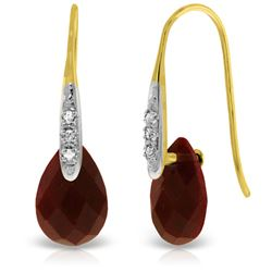 ALARRI 14K Solid Gold Fish Hook Earrings w/ Diamonds & Dangling Dyed Rubies