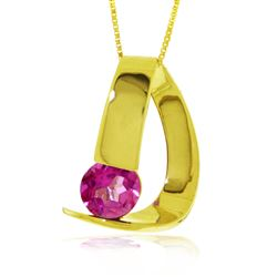 ALARRI 14K Solid Gold Modern Necklace w/ Natural Pink Topaz