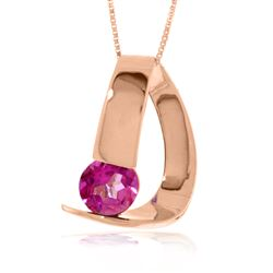 ALARRI 14K Solid Rose Gold Modern Necklace w/ Natural Pink Topaz