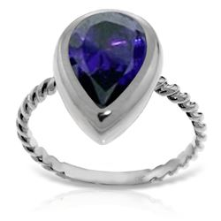 ALARRI 14K Solid White Gold Rings w/ Natural Pear Shape Sapphire