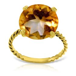 ALARRI 14K Solid Gold Ring w/ Natural 12.0 mm Round Citrine