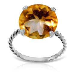 ALARRI 14K Solid White Gold Ring w/ Natural 12.0 mm Round Citrine