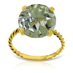 ALARRI 14K Solid Gold Ring w/ Natural 12.0 mm Round Green Amethyst