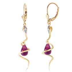 ALARRI 14K Solid Gold Snake Earrings w/ Dangling Briolette Amethysts & Diamonds