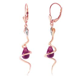 ALARRI 14K Solid Rose Gold Snake Earrings w/ Dangling Briolette Amethysts & Diamonds